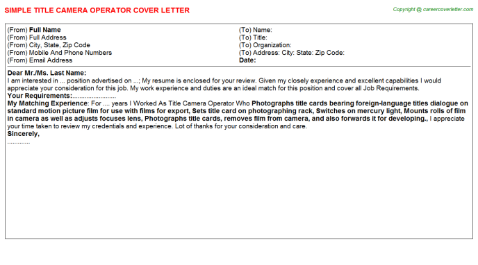 Title Camera Operator Job Cover Letter Example