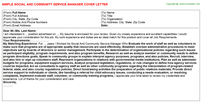 Social And Community Service Manager Job Cover Letter Template
