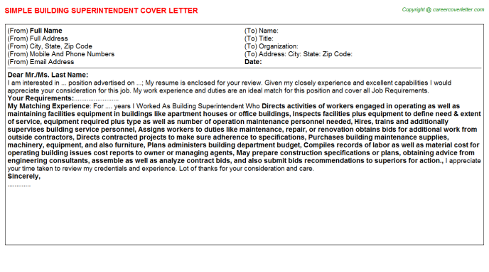 Building Superintendent Job Cover Letter Template