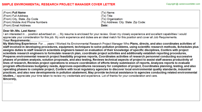 Environmental Research Project Manager Cover Letter Template