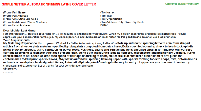 Setter Automatic spinning Lathe Cover Letter Template