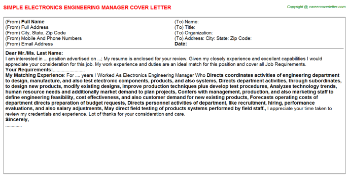 electronics engineering manager cover letter