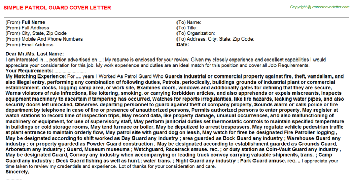 Patrol Guard Cover Letter Template