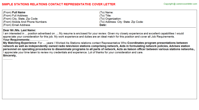 Stations Relations Contact Representative Job Cover Letter Template