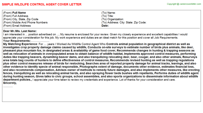 Wildlife Control Agent Job Cover Letter Template