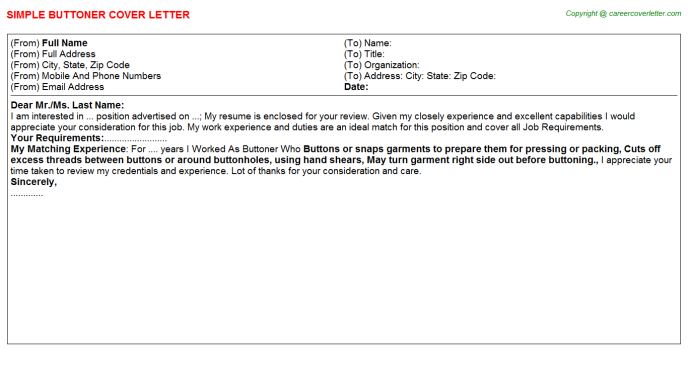 Buttoner Cover Letter Template