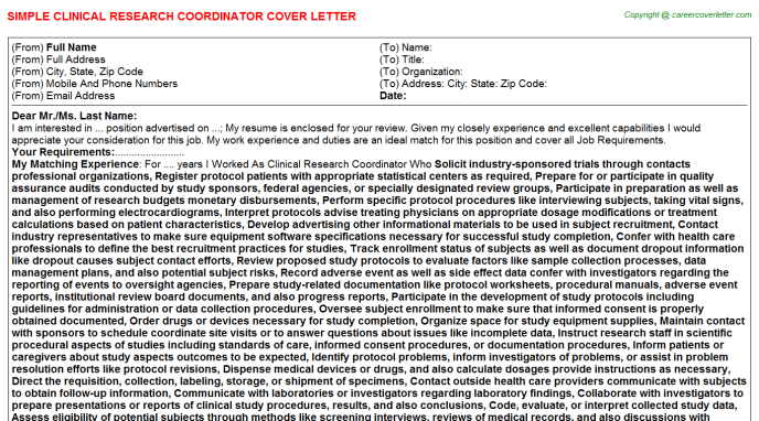 Clinical Research Coordinator Job Cover Letter Example