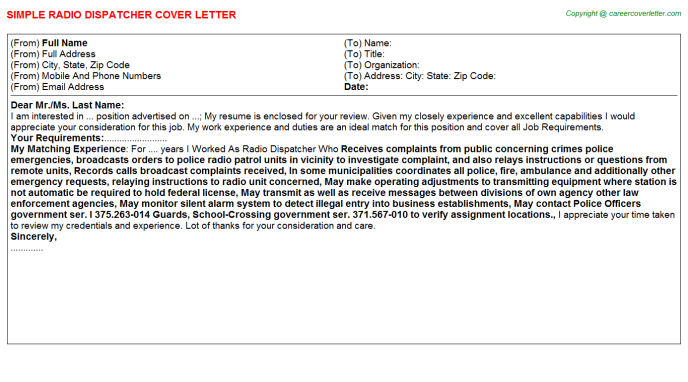 radio dispatcher cover letter template