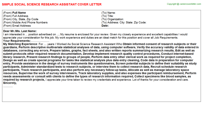 Social Science Research Assistant Job Cover Letter Example