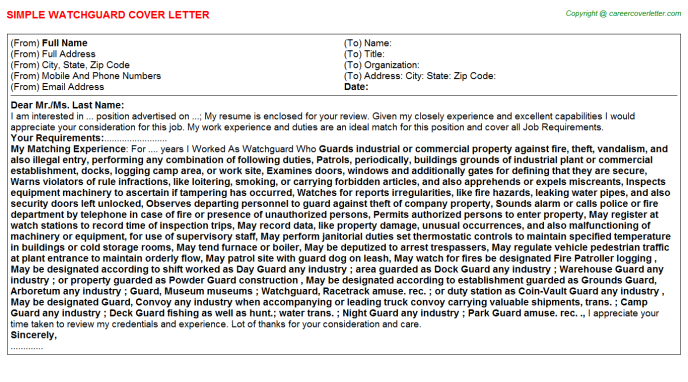 Watchguard Cover Letter Template