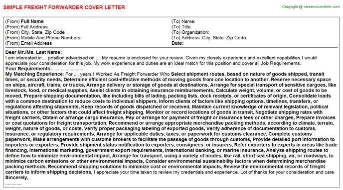Freight Forwarder Cover Letters