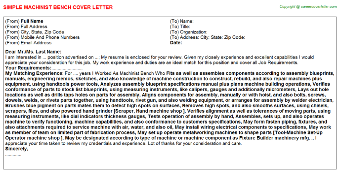 machinist bench cover letter template