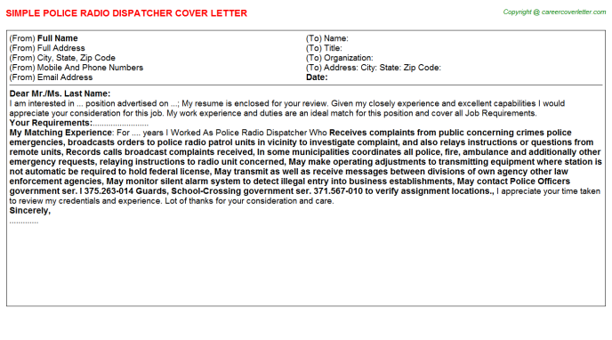 Police Radio Dispatcher Job Cover Letter Template