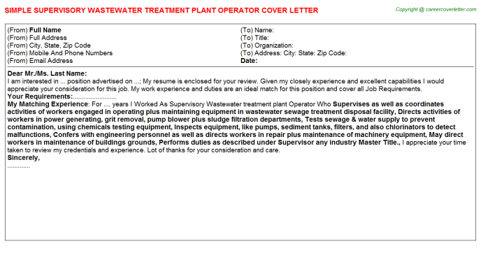 Supervisory Wastewater treatment plant Operator Cover Letter Template