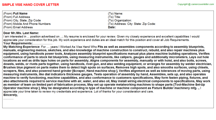 Vise Hand Cover Letter Template