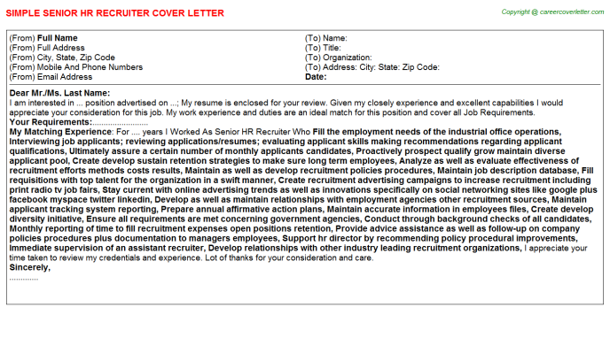 Diversity Recruiter Job Cover Letters Examples