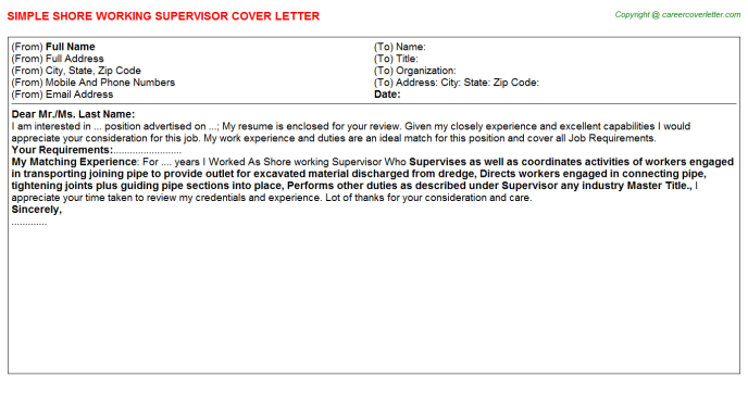 Shore Working Supervisor Job Cover Letter Template