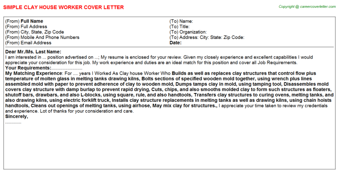Clay house Worker Cover Letter Template