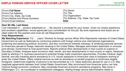 Foreign Service Officer Job Cover Letter