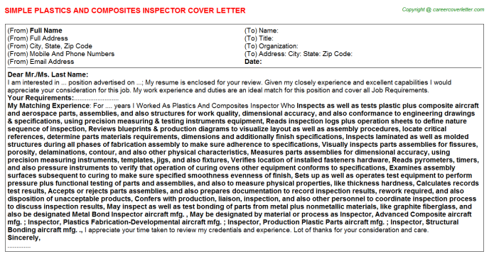 Plastics And Composites Inspector Job Cover Letter Template
