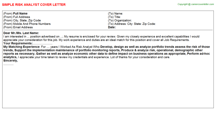 Risk Analyst Cover Letter Template