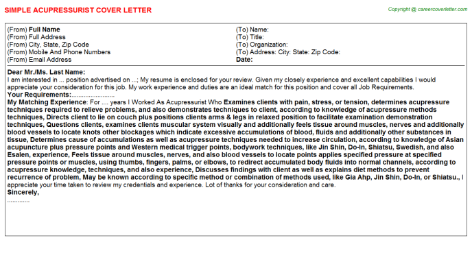 Acupressurist Cover Letter Template