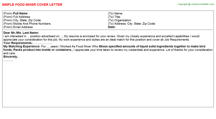 Food Mixer Cover Letter