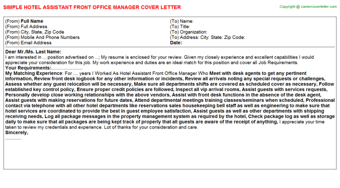 Hotel Assistant Front Office Manager Cover Letter Template