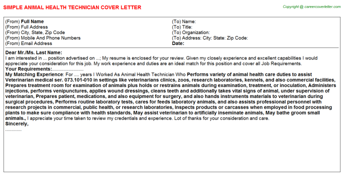 Animal Health Technician Job Cover Letter | Cover Letters