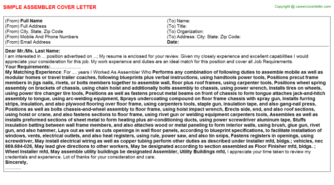 Assembler Job Cover Letter Template
