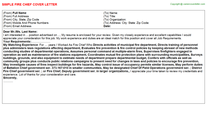 Fire Chief Job Cover Letter