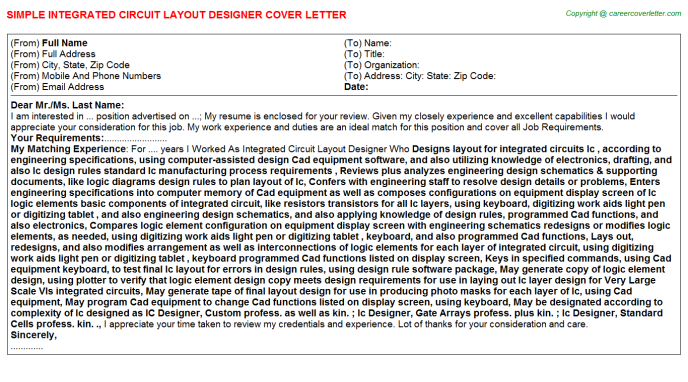Integrated Circuit Layout Designer Job Cover Letter Sample