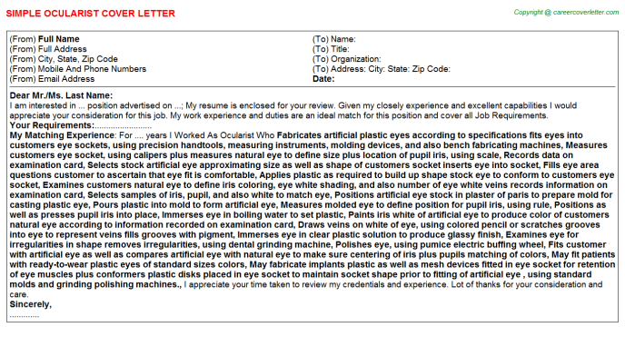 Ocularist Job Cover Letter Template