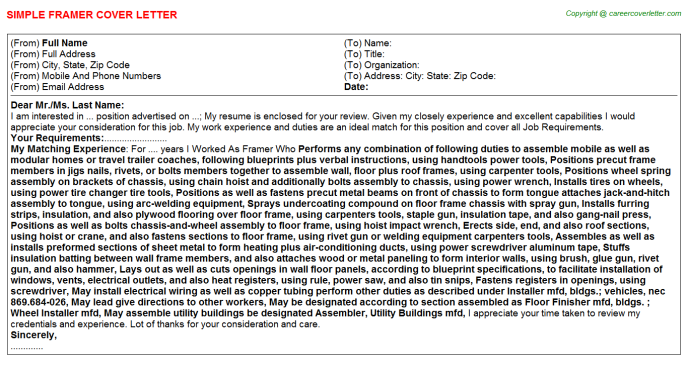 Framer Job Cover Letter Template