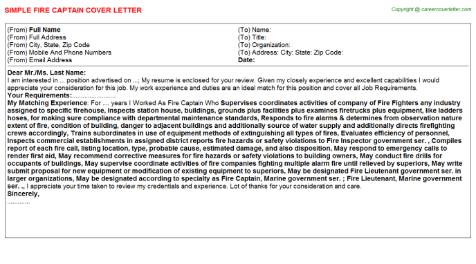 fire-captain-cover-letter Salary Requirements Cover Letter Template on