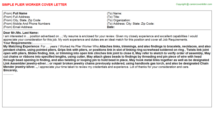 Plier Worker Cover Letter Template