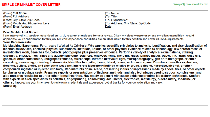 Criminalist Job Cover Letter Template