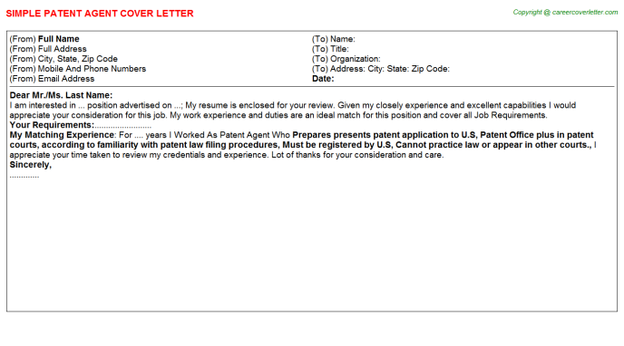 Patent Agent Job Cover Letter Template