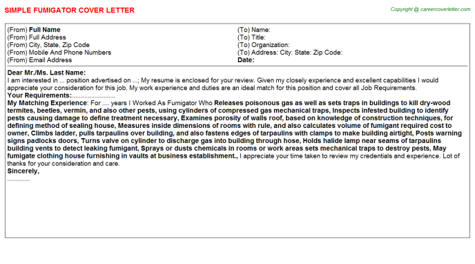 Fumigator Cover Letter Template