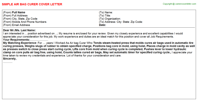 Air Bag Curer Cover Letter Template