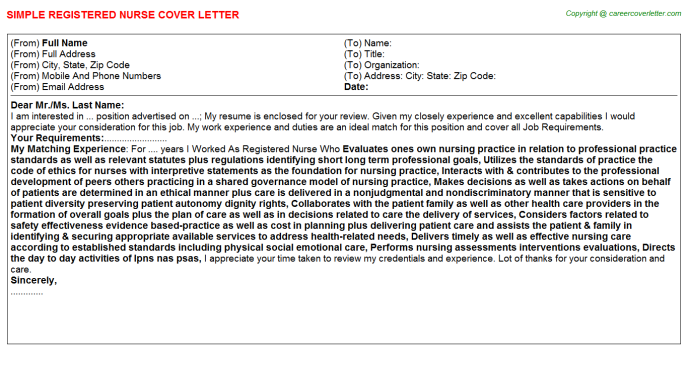 Registered Nurse Cover Letter Template