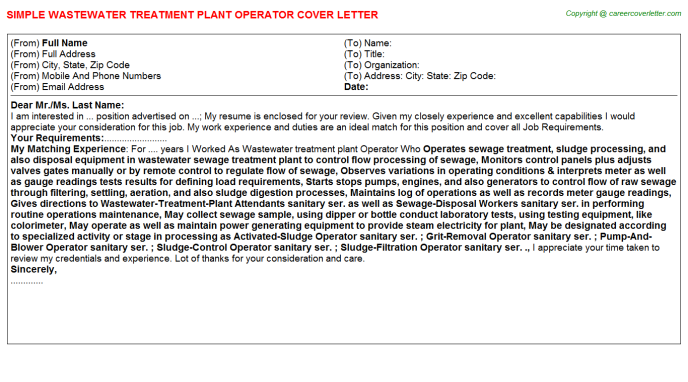 wastewater treatment plant operator job cover letter example