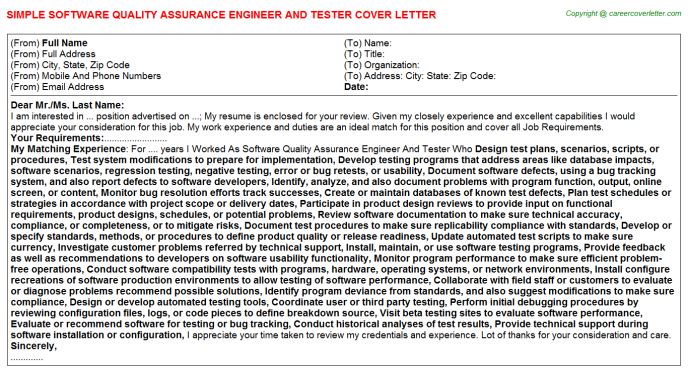 Software Quality Assurance Engineer And Tester Job Cover ...