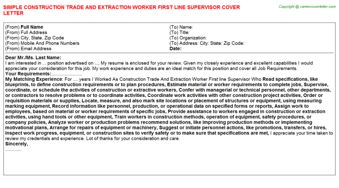 Construction Trade And Extraction Worker First Line Supervisor Job ...