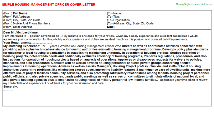Housing Management Officer Job Cover Letter Template