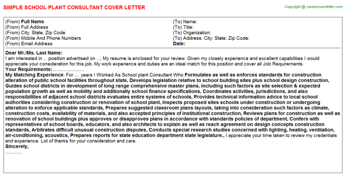 School plant Consultant Job Cover Letter Template