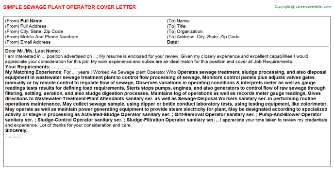 Sewage plant Operator Job Cover Letter Template