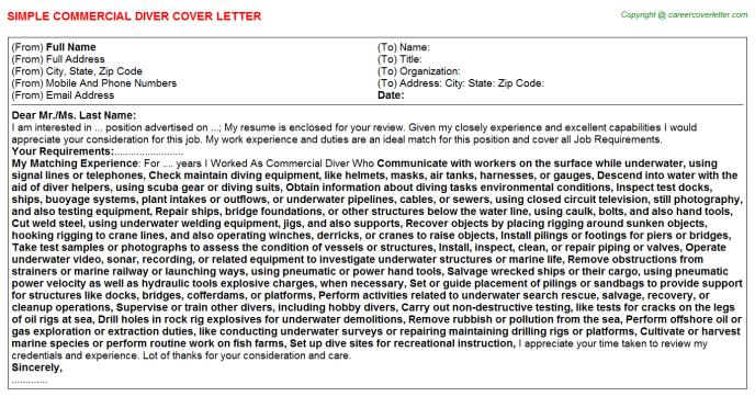 Commercial Diver Cover Letter Template