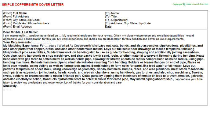 Coppersmith Cover Letter Template