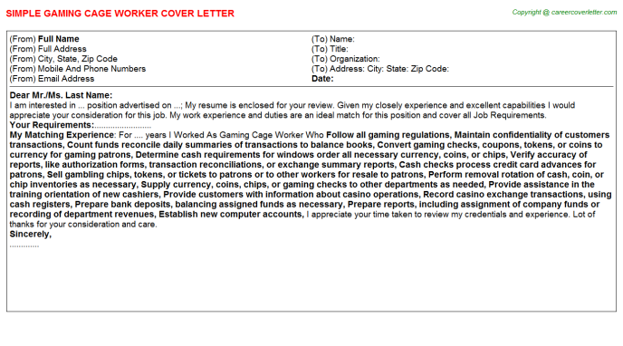 Casino Cage Cashier Cover Letters